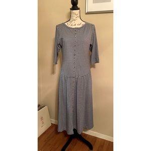 Vintage Striped Button Down Midi Dress